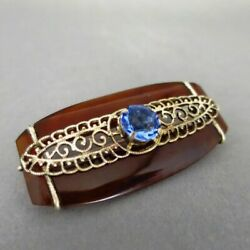 Art Deco Geometric Ladies Brooch In Silver With Celluloid And Blue Stone