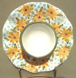 New Mackenzie Childs Majolica Taylor Egg Cup Fran Pattern Artist Signed Retired
