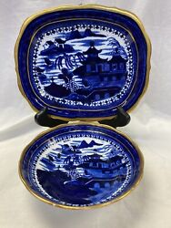 Antique 1820s Stevenson, Alcock And Wms Flow Blue Oriental And Gold Bowl And Platter