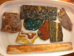 Lot Agate Jasper Chrysocolla Lapidary Cutting Rough Slabs For Cabs Nice Quality