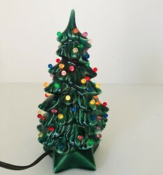 Vintage 1978 Small Ceramic Christmas Tree Lighted W/5 Point Star Base 7.5