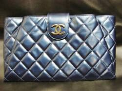 Metallic Blue Quilted Leather Clutch Bag Pouch Large Jumbo Coco Mark Gold