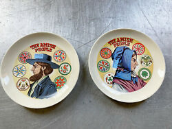 Amish People Lot Of 2 Plates Man Woman Hex Sign Ironstone Gift Shop Smoketown Pa