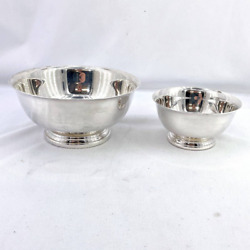 Vtg Lot 2 Silver Bowls 6 And 4 Gorham Paul Revere Ep Yc779 And Yc795