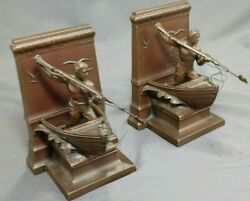 Antique Pair Jennings Brothers 3139 Bronze Whaleman Bookends New Bedford Tribute
