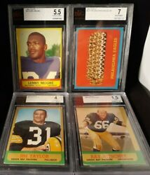 1963 Topps 4 Card Graded Lot Eagles 7 Jim Taylor Lenny Moore Ray Nitschke Bvg