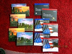 6 Complete 2008 2009 2010 2012 2013 2019 Us Pandd Mint Sets In Folders And Coas