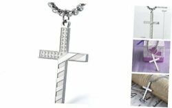 Stainless Steel American Flag Cross Necklace Engraved Religious Philippians
