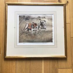 Henry Wilkinson 1921-2011 2 Bulldogs In A Field Ltd Edt Coloured Etching Print
