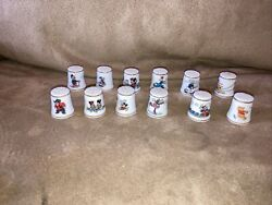 Disney Collectible Thimbles Lot Of 12 Daisy Donald Mickey Minnie Scrooge Read
