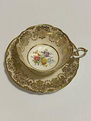 Paragon Cup And Saucer By Appointment To Hm The Queen And Hm Queen Mary Gold China