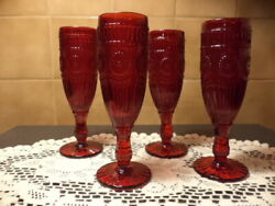 Pioneer Woman Adeline Ruby Red 6 Oz, Champagne Fluted Goblets Set Of Four 4