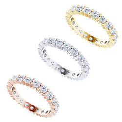 3mm Round Cut Moissanite 14k Gold Anniversary Eternity Band Ring For Womenand039s