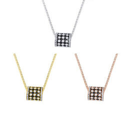 2.50 Ct Round Cut Black And White Diamond 14k Rolling Pendant Necklace