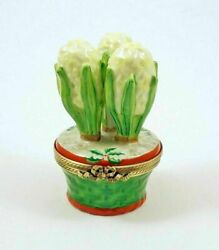 New French Limoges Trinket Box White Hyacinth Flowers In Christmas Pot W Holly