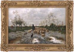 Shepherd With Flock Antique Oil Painting Louise J. Guyot French 19th Century