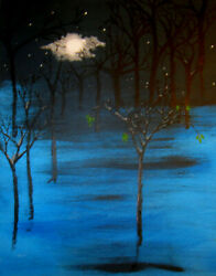 Moon Painting By West Davis Woods Wolf Moon Acrylic/canvas 20 New From Gallery