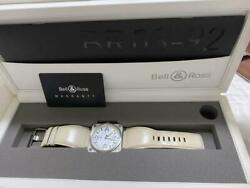 Bell And Ross White W/box Belt Good Condition Working Men's Unisex Authentic