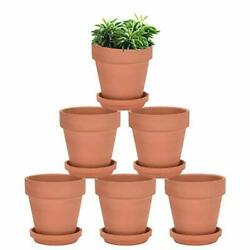 Terra Cotta Pots With Saucer - 6 Pack 5 Inch Clay Pot Ceramic Pottery Brown