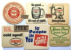 Western Ny Beer Coaster Lot - Buffalo And Rochester Genesee Simon-pure Lot Of 6