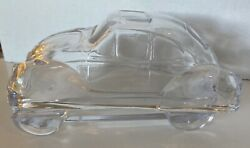 Vintage Clear Glass Vw Bug Volkswagon Trinket Box Container