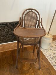 Antique Cane Bentwood High Chair Baby Seat Wood Thonet Style Rustic Primitive