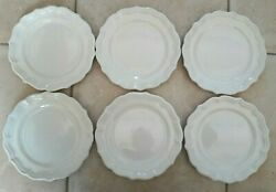6 Assiettes Plates / Desserts Gien Blanches Tbe