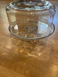 Vintage Glass Pedestal Cake Stand With Glass Dome Lid