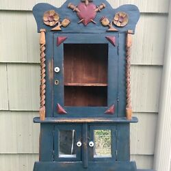 Antique Folk Art Painted Wall Cupboard With Carved Architectural Elements