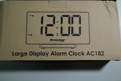 Reacher Large Alarm Clock 9quot; LED Digital Display Dual Alarm with USB Charger