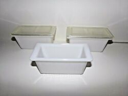 Hazel Atlas 3 Milk Glass Ribbed Leftovers Containers With 2 Plastic Lids, Rare