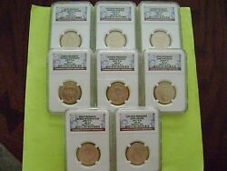 2007-2008-p Presidential Ngc Ms 67 8-coin Business Strike Dollar Set