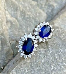 0.90ct Natural Round Diamond 14k Solid White Gold Blue Sapphire Stud Earring