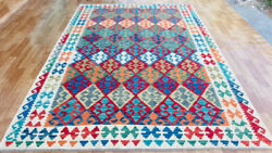200x300cm7x10ft Kilim Traditional Hand Made Oriental Afghan Vintage Wool Antique