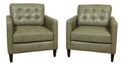 L45382ec Pair Modern Design Leather Tufted Back Club Chairs