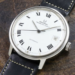 Universal Geneve Polerouter Automatic Cal.1-69 Date Ss 37mm Watch 1960's Vintage