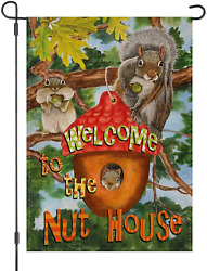 Loyoki Welcome To The Nut House Squirrel Garden Flag Burlap Double Sided Outdoor