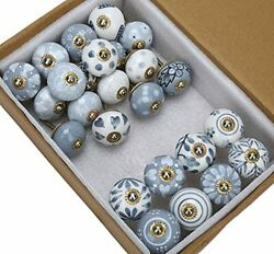 Ceramic Cabinet Knobs And Pulls - Pack Of 25 - Grey And White Antique Hand Pain...