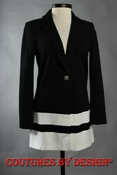 St John Knits Milano Knit One Button Topper Caviar And Cream Sz 2 Nwt Msrp 1395