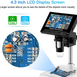 4.3 Lcd Digital Microscope Usb Endoscope Record 1000xmagnification Zoom Storage