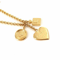 Necklace Women 95a Icon Charm Long Gold Heart Medal Vintage Authentic