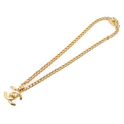 Necklace Women 96a Coco Mark Turn Lock Long Gold Vintage Authentic