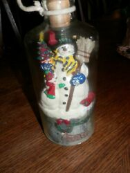 Mr. Christmas Rare Vintage Singing Snowman In A Bottle Lift Cork Xmas Songs Play