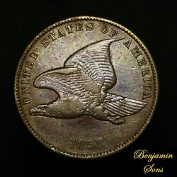 Toned1858 Sl Small Letters Flying Eagle Cent 1c Penny Free Shipping 060321-01