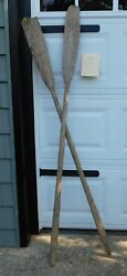 Vintage Weathered Wooden Oars Mismatched Pair 69 W Rusty Locks Perfect Decor