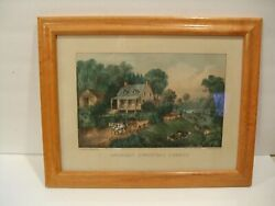Antique Original Currier And Ives Lithograph American Homestead Summer 1868