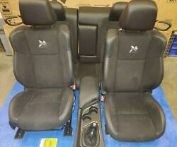 2015-2018 Dodge Challenger Bumble Front And Rear Seats Black Suede Oem