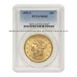 1892-s 20 Gold Liberty Pcgs Ms62 Choice Graded San Francisco Double Eagle Coin