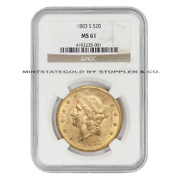 1883-s 20 Gold Liberty Ngc Ms61 San Francisco Minted Double Eagle Coin
