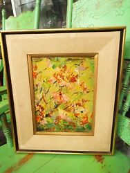 Ednah Root Signed June Garden Modern Abstract Painting Oil On Board 1972